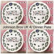 "Johnson Brother Christmas Dinner Plates Wreath Design 10.25"" Set/4 New - $55.44"