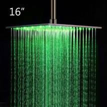 "16"" Square Ceiling Mount Rainfall LED Shower Head Chrome Top Sprayer - $386.09"