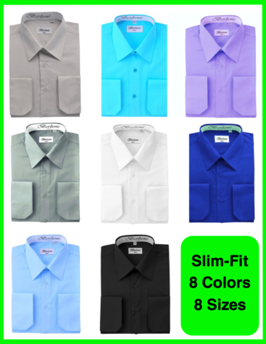 BERLIONI ITALY MEN'S SLIM-FIT PREMIUM FRENCH CONVERTIBLE CUFF SOLID DRESS SHIRT