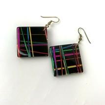Vtg Mod Plastic Pierced Earrings Colorful Hippie Boho Statement Danglers - $9.89