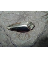 VINTAGE GOLDEN PIN BROOCH CURVED BAR W/ RHINESTONE ACCENTS - $12.00