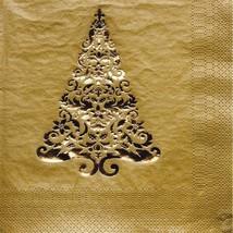 32 pcs Gold Glitz Foil Stamp Christmas Tree 3-Ply Party Beverage Napkins - $9.85