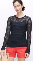 NWT Ann Taylor Open Stitch Sweater small Navy blue Crew Neck Long Sleeves - $27.37