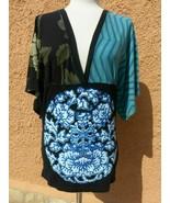 Ladies Desigual V-Neck Half Sleeved Stretch Top Size M boho - $40.70