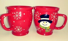 Home & Garden Party Stoneware Christmas Mugs 2005 Red w/ Snowman Set of 2 - $17.42