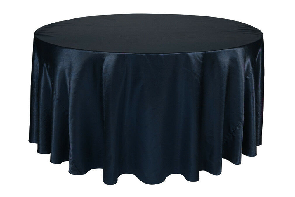 Primary image for Round Satin Tablecloth Navy Blue 132 inch