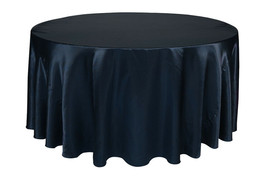 Round Satin Tablecloth Navy Blue 132 inch - $42.99