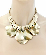 Gold Tone Short Charmed  Statement Necklace & Earrings Set, Gipsy, Casual Chic  - $17.05