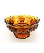 Fenton Art Glass Candle Bowl, Amber Hobnail, Sawtooth Rim, Footed Base, ... - $24.45