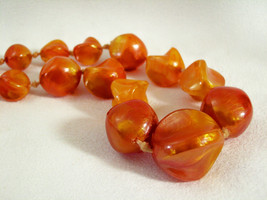 Marbled Shimmer Orange Yellow Beads Choker Necklace Chunky Vintage Germany  - $19.75