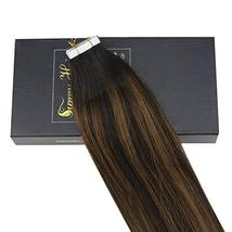 Sunny 18inch Tape in Highlighted Hair Extensions Darkest Brown Real Human Hair E image 3