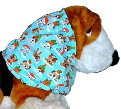 Blue Christmas Holiday Puppies Sparkle Cotton Dog Snood Size Puppy REGULAR - $10.50