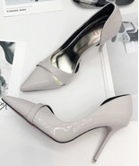 88H131 European style crossed strap pump,Size 4-8, gray - $58.80