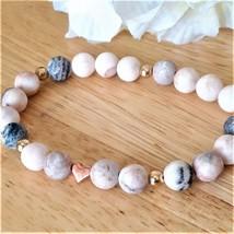 Dainty Pink Zebra Jasper Stretch Bracelet with Rose Gold Metal Heart Bead - Gift - $25.00