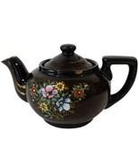 Vintage JAPAN Brown Teapot Floral Small JAPANESE Tea Pot Hand Painted St... - $19.79