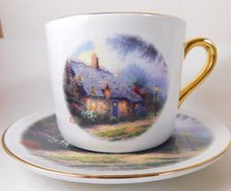 "Thomas Kinkade ""Moonlight Cottage"" Cup & Saucer Gold Rim - $6.77"
