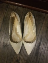 COACH Jill Womens offwhite Leather Scalloped Pointed Toe Flats Size 7 - $23.38