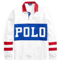 Polo Ralph Lauren Mens Classic Fit Cotton Rugby Shirt 480601 White/Multi... - $125.85