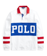 Polo Ralph Lauren Mens Classic Fit Cotton Rugby Shirt 480601 White/Multi... - $138.44