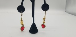 Vintage Gold Tone Dangle Pierced Earrings With Red Stone Heart & Accents - $9.62