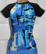NEW Calvin Klein 1/2 Zip Logo Short Sleeve Rashguard size M Medium Blue Black  - $34.64