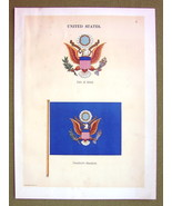 FLAGS United States Coat of Arms President's Standard - 1899 Color Litho... - $16.20