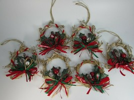 Rustic Paper Straw Wreath Ornaments Brown Craft 30705 Set of  - $17.81