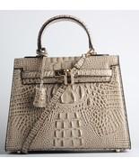 New Crocodile Embossed Italian Leather Kelly Style Handbag Satchel Purse... - $154.99