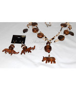 Bone Zebra-Bone & Wood Zebra Necklace with Rhino Elephant Earrings - $108.00