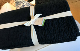 Pottery Barn Belgian Flax Floral Stitch Quilt Set Ebony Queen 2 Euro Shams 3pc - $374.00