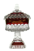 Vintage Westmoreland Cranberry Red Clear Square Compote Candy Dish Pedes... - $29.69