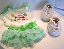 The Bear Factory Green Skirt with Happy Birthday Tank Top and White Sneakers - $16.99