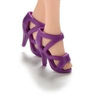 1//6 Barbie Doll Bright Pink High Heeled Platform Strappy w Rose Shoes Heels