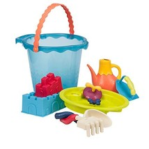 B. Toys – Shore Thing – Large Beach Playset – Large Bucket Set Sea Blue with 11