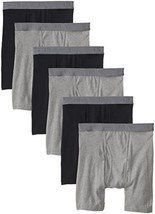 BVD Men's 6 Pack Boxer Brief, Black/Gray Large - $20.80