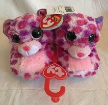 NWT TY Beanie Boo GLAMOUR Spotted Cat Plush Big Head Slipper Med Kids Size  12- 84a0d22972b4