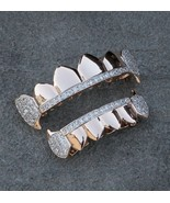 Hip Hop Rose Gold Two Tone Grill Top Bottom Fang Grillz Set - $34.99