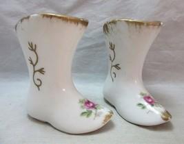 Pair of porcelain ladies boots figurine bud vases - $9.99