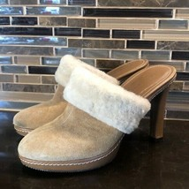 Coach tan suede ivory faux fur lined heeled mules - $53.46