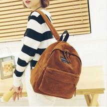 Backpack Preppy Suede Backpacks Girls School Bags Vintage Backpack Trave... - $23.08 CAD