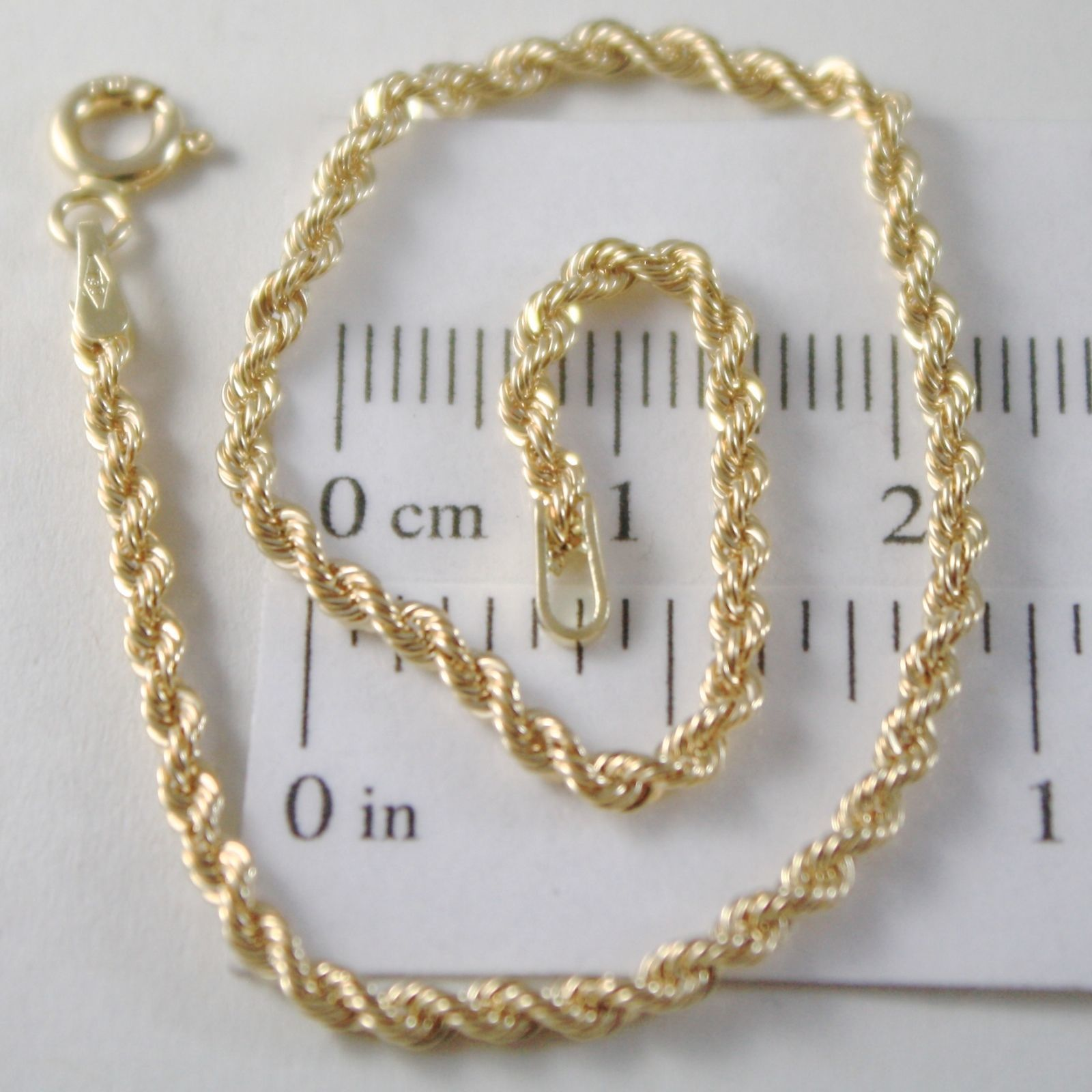 BRACELET YELLOW GOLD 0,5 WHITE, 750 18K WOVEN ROPE 18.5 CM X 2.5 MM, ITALY