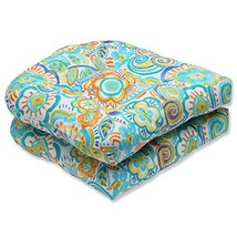 Pillow Perfect Outdoor Bronwood Caribbean Wicker Seat Cushion, Multicolo... - £35.97 GBP