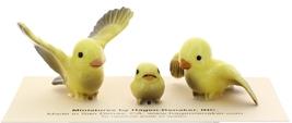 Hagen-Renaker Miniature Ceramic Bird Figurine Canary Tweetie Pa, Ma & Baby Set