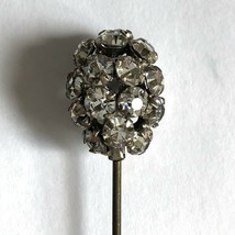 "Hat Pin Antique Faceted Glass Rhinestone Vtg Hatpin 6.5"" - $39.59"