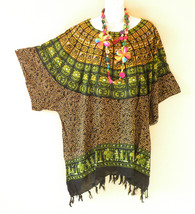 KB686 Women Tribal Plus Caftan Poncho Kimono Tunic Blouse Top - 2X, 3X, 4X, 5X - $24.65