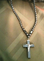 Necklace  Natural Hematite  with Crucifix Cross  Women or Men Natural Stone - $14.80