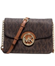 NWT Michael Kors Fulton Flap Gusset Crossbody! Signature Logo Brown MRSP... - $130.89