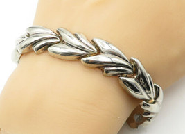 925 Sterling Silver - Vintage Shiny Fluted Designed Link Chain Bracelet ... - $83.39