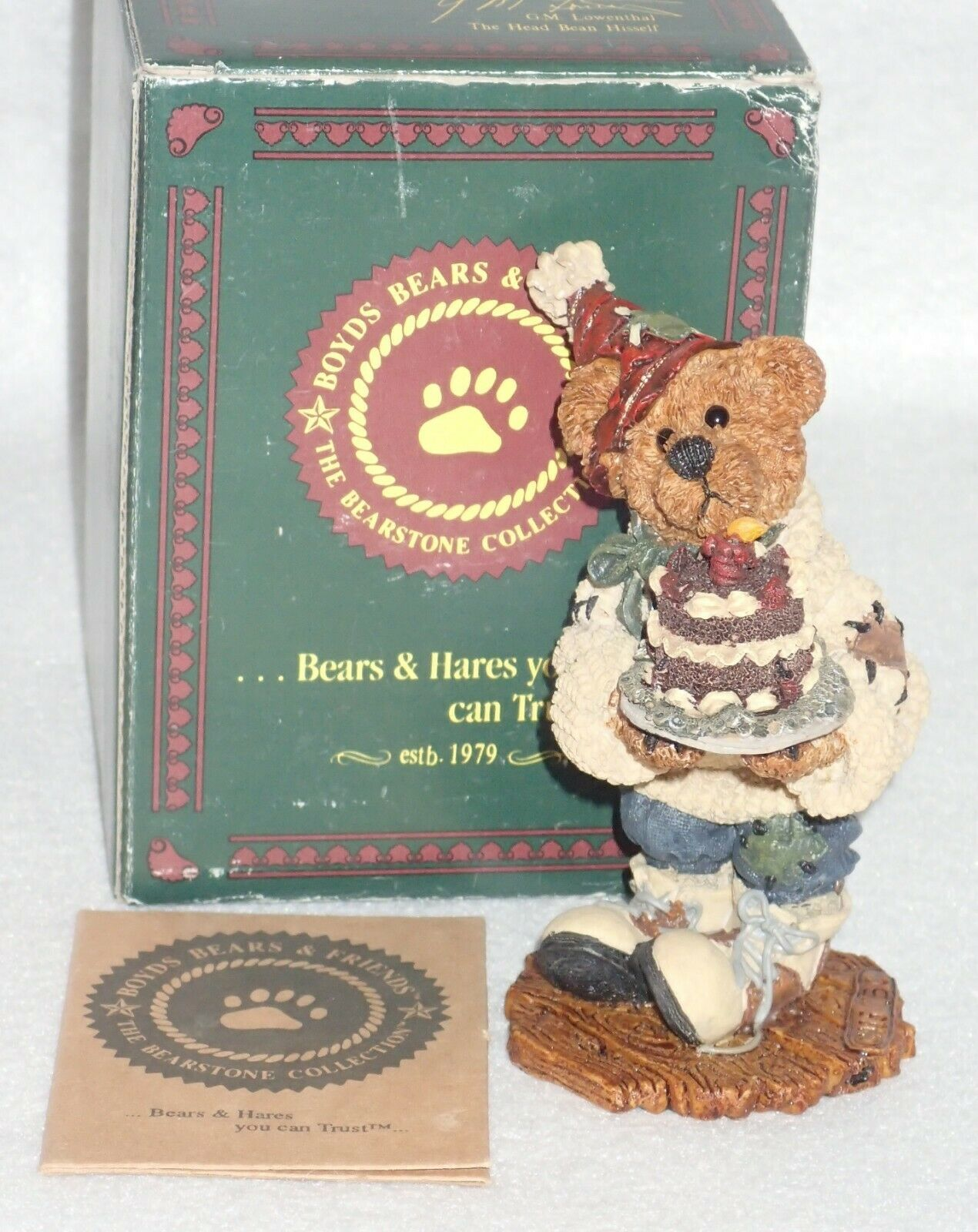 Boyd Bearstone 1996 M. Harrison's Birthday Resin Figurine #2275 27E NEW IN BOX image 3