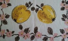 UNUSED PURE LINEN KITCHEN TOWEL ~ APPLE BLOSSOMS & YELLOW APPLES ~ FRUIT - $7.91